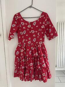 Vintage Laura Ashley 1980's Red Floral Rah Rah Dress Size Vintage Label 12