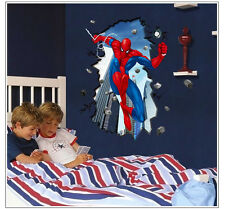 Super Hero Spider Man Cracked Mural Wall Sticker Art Decals Kids Room Decor