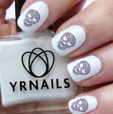 Nail WRAPS Nail Art Water Transfers Decals - Floral Skull  - S030