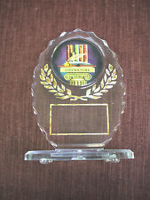 literature insert trophy award party favor oval acrylic gold trim