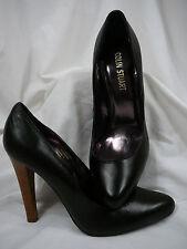 NEW IN BOX Colin Stuart Black Leather Stiletto Stacked Look Heels 9B  L@@K!!!!