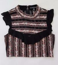 FOR LOVE & LEMONS PERCEPHONE EMBROIDERED CROPPED TOP, Black, Size M, MSRP $268