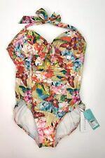 Australian Seafolly Floral 1 Pc Bathing Suit Swimsuit Halter USA 10 AUS 14 NWT