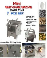 EDC Compact Mini Survival Dual Fuel Camping Fishing Stove Set Flat Pack