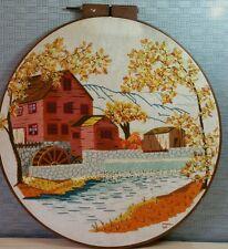 "Vtg 1984 22""round  yarn needlepoint handcrafted stitching water mill pond dam"