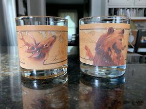 VTG Whiskey Low Ball Glasses Brown Bear & Buck Signed