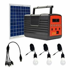 12V 10W Solar Panel Lighting Kit  Solar Generator 3 LED Light Bulb 6 USB ports