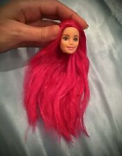 Hot bright fluorescent pink barbie reroot rerooted head 1/6