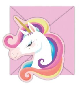Unicorn Mystical Birthday Party 8 Invitations + 8 Envelopes Invites Girls Pink