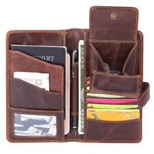 Vintage Men Genuine Leather Long Wallet Ticket Card passport Case Holder Folder