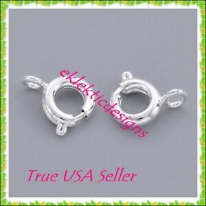 6mm 5pcs Silver Plated BRASS Spring Ring Style Clasps Connectors Claws FREE SHIP