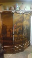 Beautiful hand made wooden 4 panel partition. Hand oil painted