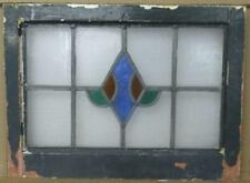 "OLD ENGLISH LEADED STAINED GLASS WINDOW Pretty Abstract 21.75"" x 16.25"""