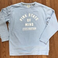 VICTORIA'S SECRET Pink Nation Campus Sweater Fleece Small Blue Oversize NWT
