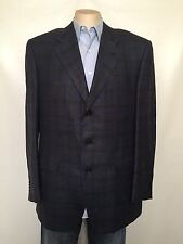 CORNELIANI Saks Men 54 Blazer SportCoat Jacket Italy Blue Plaid Wool Silk Linen
