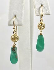 Genuine Colombian Emerald (6.5ct) & Solid 14k Filigree Dangle/Drop Earrings, New