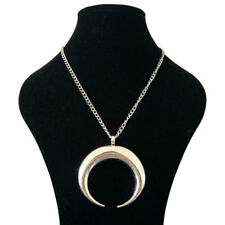 Large Silver Abstract Metal Horn Crescent Moon Pendant Long Curb Chain Necklace
