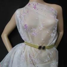 off white background w azalea blossom print silk organza fabric by the yard