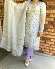 Pakistani Indian Salwar Kameez for eid, partywear Embroidered (white+lilac)