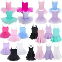 Kids Girls Ballet Leotards Dress Gymnastics Dance Tutu Skirts Performance Dress