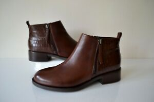 NEW W.BOX GEOX RESIA BROWN LEATHER CUSHIONED BREATHABLE ANKLE BOOTS UK 4 RP £125