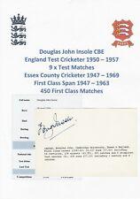 DOUGLAS INSOLE ENGLAND TEST CRICKETER 1950-1957 RARE ORIGINAL AUTOGRAPH