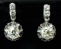 "BOUCLES D'OREILLES OR GRIS 18K ""DORMEUSES"" DIAMANTS : 1CARAT80"