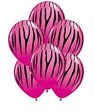 Zebra Tiger Striped Pink Balloons x 6 Zoo Safari Jungle Animal decoration Rose