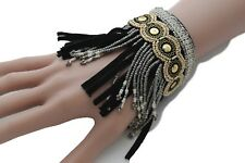 Women Black Faux Suede Leather Bracelet Bohemian Fashion Jewelry Gold Beads Boho