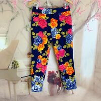 Soft Surroundings In Bloom Pants Black Floral Ankle Leg Pull On Stretch Medium
