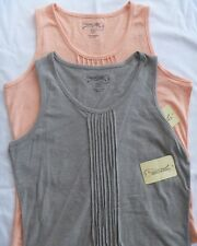 Women's (2) CANYON GUIDE Outfitters Pin-tuck Tank tops Size SM Pink/Gray *NWT*