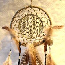 Blume des Lebens Traumfänger Dreamcatcher schwarz beige Naturfedern Handarbeit