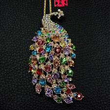 Colorful Crystal Enamel Lovely Peacock Pendant Betsey Johnson Long Necklace