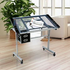 Drafting Drawing Craft Table Art Hobby Glass Desk Adjustable With Storage Drawer