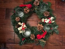 Artifical Christmas Tabletop Wreath w/Four Candle Holders