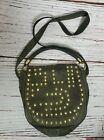 Sam Edelman M Purse Army Military Green Leather Handbag Gold Grommet Crossbody