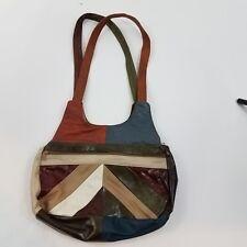 Genuine Leather purse made in mexico chevron geometric orange green shoulder