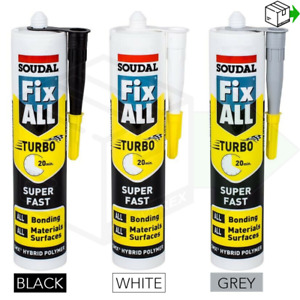 Soudal Black Fix All Turbo Silicone Sealant Strong Waterproof Bond Adhesive