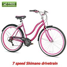 "Kent Cruiser Bike 26"" Women Pink Beach City Comfort Bicycle Multi Speed Shimano"