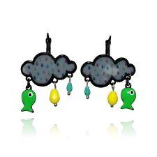 Lol bijoux - Boucles d'oreilles nuage - Poisson vert - Pluie - pOpup-bijOux