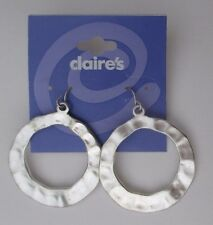 cc Silver tone hammered metal dangle circle EARRINGS jewelry