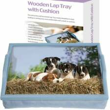 Wooden Cushioned Lightweight Lap Top Serving Tray With Handles Puppy Light Blue