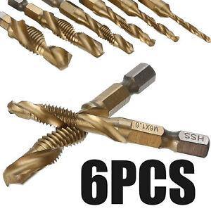 "6pcs Metric Thread M3-M10 Titanium Coated Drill HSS and Tap Bits 1/4"" Hex Shank"