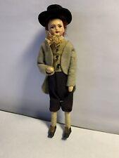 Vintage Artisan Miniature Dollhouse Porcelain Victorian Man Doll Silk Handsome