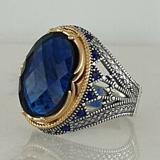Solid 925 Sterling Silver Mens Ring Blue Sapphire Gemstone HandMade AAA Quality