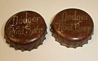 Vintage Lot 2 Dodger Root Beer Cork Lined Soda Pop Bottle Caps (Rare Crowns)