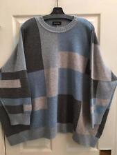 Eskandar O/S $2275 1x 2x 100% Cashmere Geometric Intarsia Sweater Blue/Grey