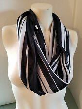 New Women's Tube Scarf By Icon Black & White Stripes Great For All Seasons
