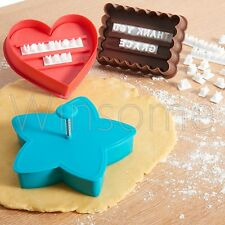 Letterpress TIMBRO alfabeti Cookie Cutter Biscotto Torta Decorazione Cupcake Set