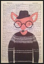 Hipster Fox Vintage Dictionary Page Print Wall Art Picture Animal in Clothes